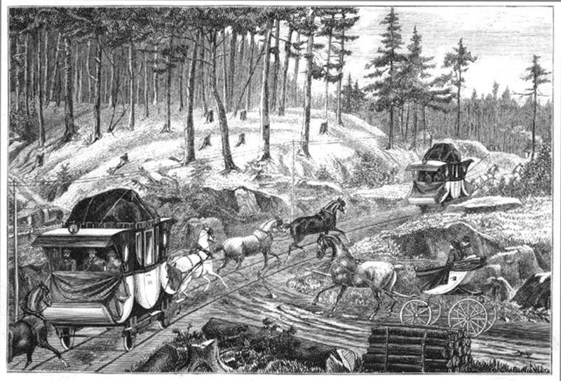 """Reise_""""Die erste Eisenbahn (Linz-Budweis) auf dem Kontinent, gezeichnet von A. Krúzner"""", Bild der Pferdeeisenbahn Linz-Budweis"""