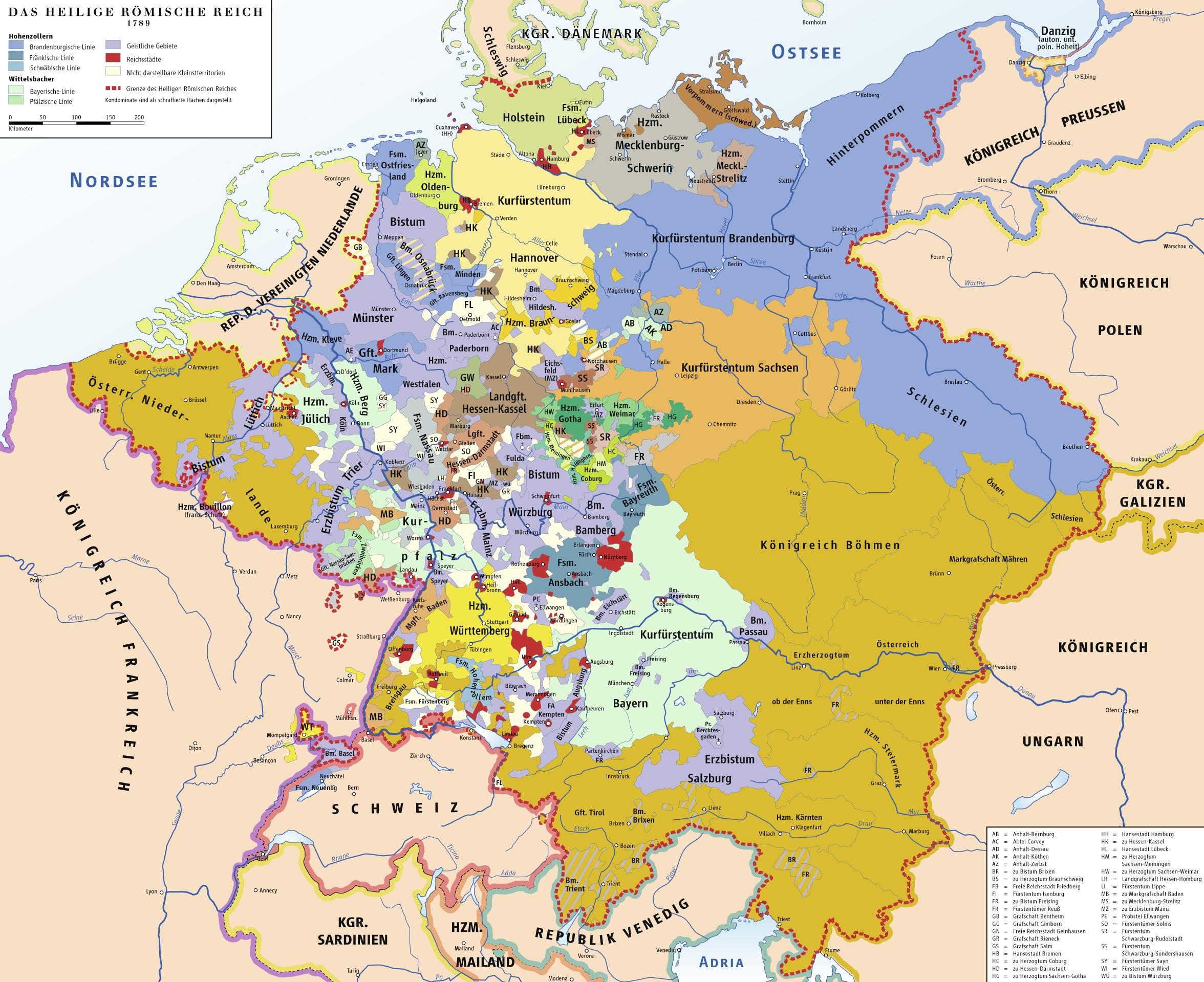 Das Heilige Römische Reich im Jahr 1789