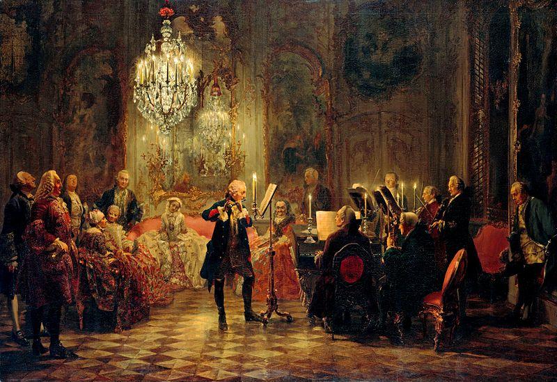 """Adolph Menzel: """"Flötenkonzert Friedrichs des Großen in Sanssouci"""""""